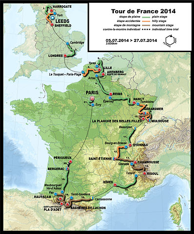 Carte de l'édition 2014 du Tour de France